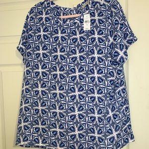 LOFT blue pattern top NWT